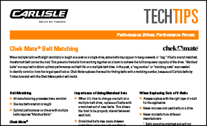 Download the Chek Mate Belt Matching Data Sheet for more information on standardised matching of belts for drive systems
