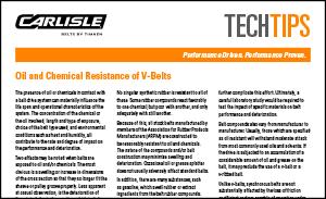 Download the Chemical Resistant V-Belts Sheet for more information on the chemical-resistance of V-belts by Carlisle Belts